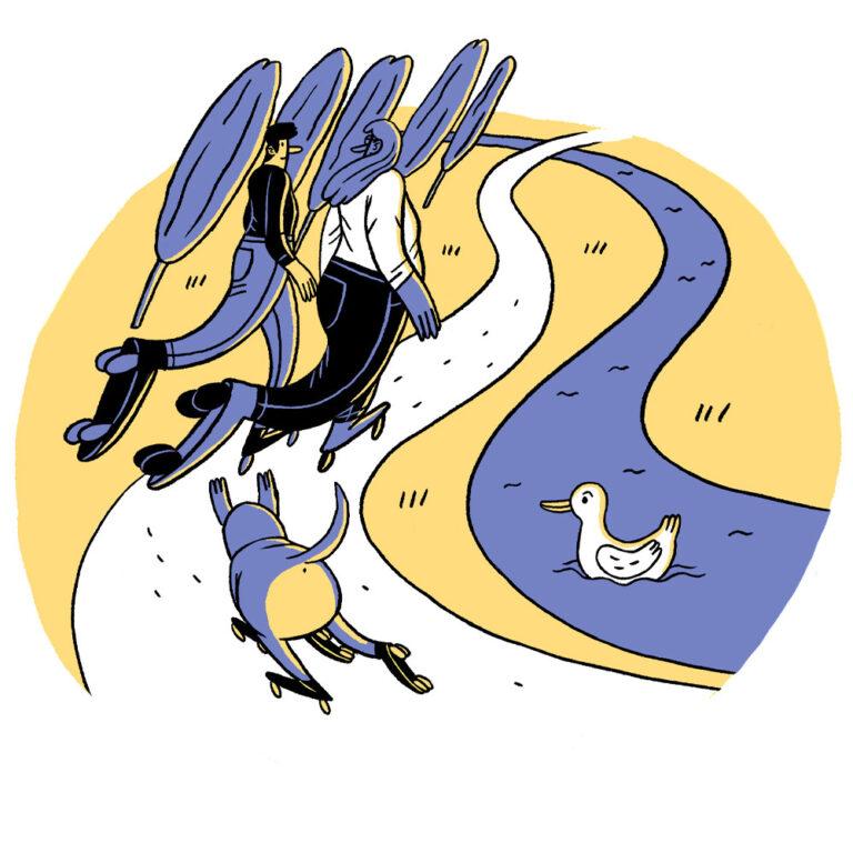 Zeichnung in gelb und blau, zwei Personen fahren mit Rollschuhen durch eine Landschaft mit Bach und Ente. Ein Hund folgt ihnen, ebenfalls mit Rollschuhen.
