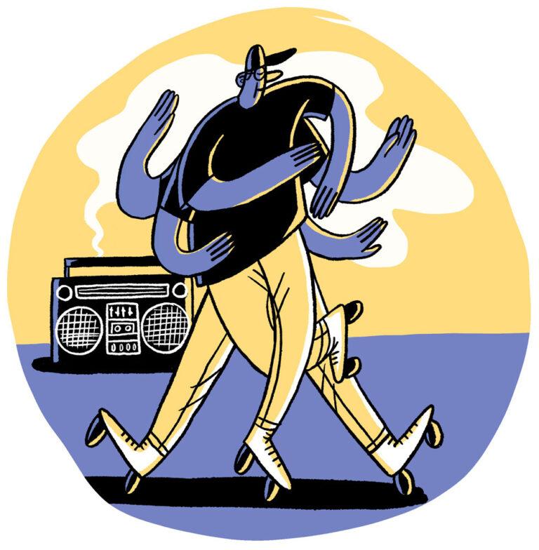 Zeichnung in gelb und blau, eine Person tanzt auf Rollschuhen mit vie Beinen und sechs Armen. Im Hintergrund steht ein Ghettoblaster.