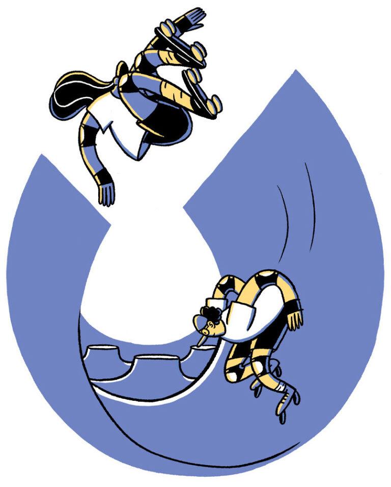 Zeichnung in blau und gelb. Zwei Skater*innen mit Rollschuhen in einer Skaterampe.